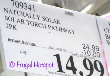 Costco Sale Price: Naturally Solar Torch Pathway Lights 2-Pack