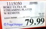 Costco Price: Roku Ultra 4K Streaming Player with Remote