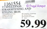 "Costco Regular Price: T3 Singlepass White and Rose Gold 1"" Straightening and Styling Iron"