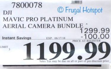 Costco Sale Price: DJI Mavic Pro Platinum Aerial Camera Bundle