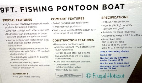 Description of Classic Accessories 9' Fishing Pontoon Boat at Costco