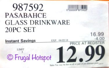 Costco Sale Price: Pasabahce Glass Drinkware 20-Piece Set