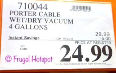 Costco Price: Porter Cable Wet/Dry Vacuum