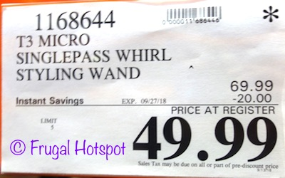 Costco Price: T3 Professional SinglePass Whirl Styling Wand