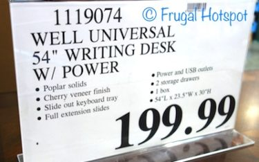 "Costco Regular Price: Well Universal 54"" Writing Desk"