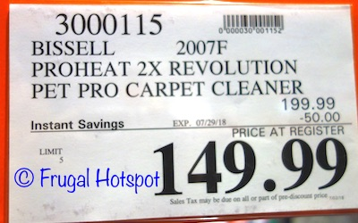 Bissell ProHeat 2X Revolution Pet Pro Deluxe Carpet Cleaner. Costco Price