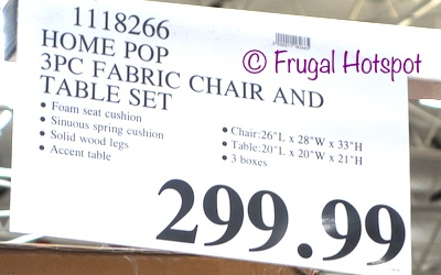 Costco Regular Price: Home Pop by Kinfine 3-Piece Fabric Chair and Accent Table Set