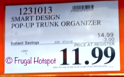 Smart Design Pop-Up Trunk Organizer. Costco Price