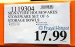 Costco Regular Price: Signature Housewares 6 Serving Bowls with Lids
