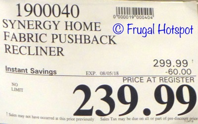 Costco Sale Price: Synergy Home Furnishings Fabric Pushback Recliner