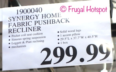 Costco Regular Price: Synergy Home Furnishings Fabric Pushback Recliner