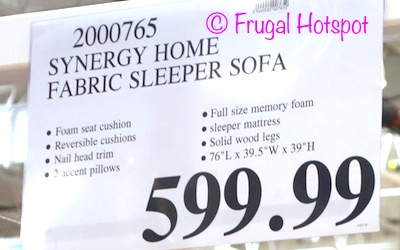 Synergy Home Fabric Sleeper Sofa. Costco Price