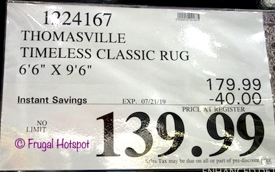 Thomasville Marketplace Timeless Rug 6x9 Costco Sale Price