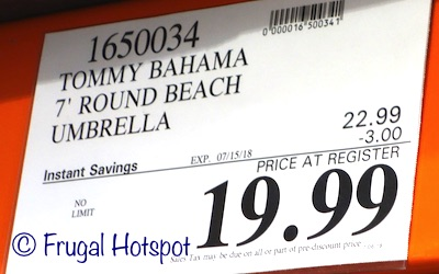 Costco Sale Price: Tommy Bahama 7' Beach Umbrella