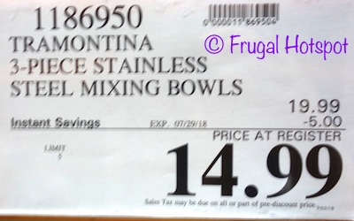 Costco Sale Price: Tramontina 3-Piece Stainless Steel Mixing Bowls