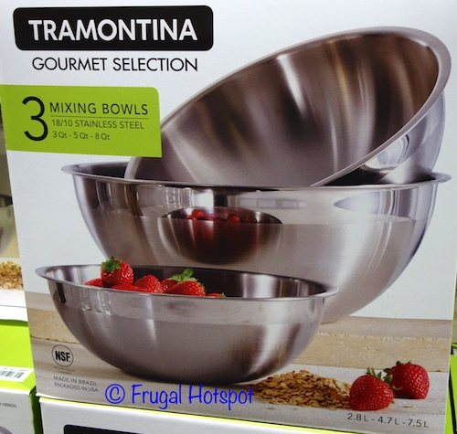 Costco Sale: Tramontina 3-Pc S/S Mixing Bowls $14.99
