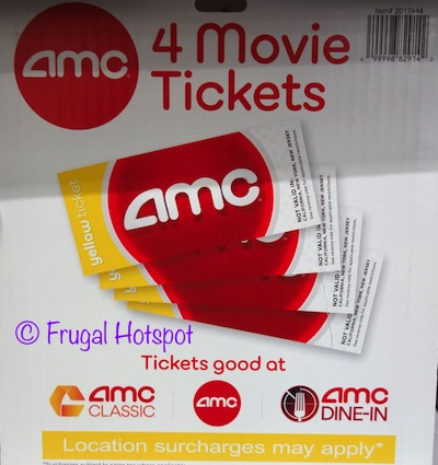AMC Theatre 4-Pack Yellow Ticket Movie Vouchers at Costco
