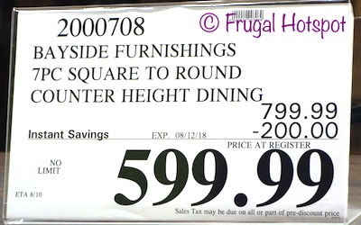 Bayside Furnishings Samuel 7-Piece Counter Height Dining Set. Costco Price