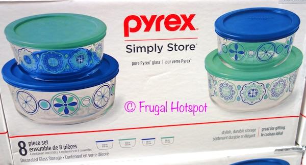 costco sale pyrex decorated glass food storage 8 pc frugal hotspot. Black Bedroom Furniture Sets. Home Design Ideas