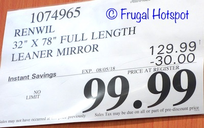Renwil Full Length Mirror. Costco Price