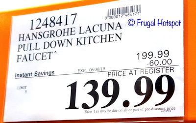 Hansgrohe Lacuna Pull Down Kitchen Faucet Costco sale Price