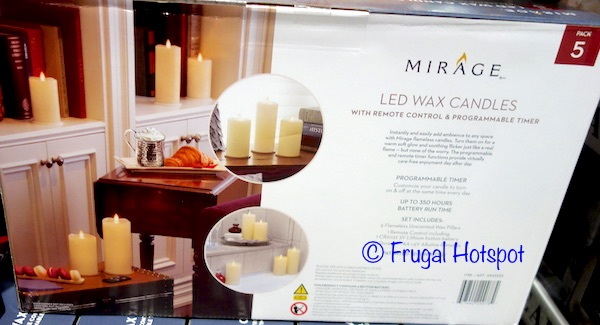 Mirage Unscented LED Wax Candle 5-Piece at Costco