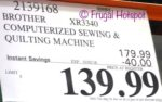 Costco Price: Brother Computerized Sewing and Quilting Machine XR3340