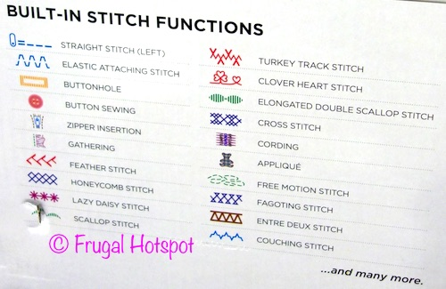 Stitch Functions of the Brother Computerized Sewing and Quilting Machine XR3340 at Costco