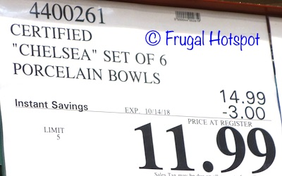 Costco Price: Certified Chelsea Set of 6 Porcelain Bowls