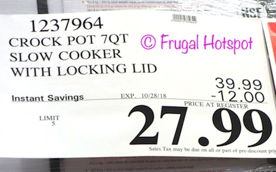 Costco price: Crock Pot 7-Quart Cook & Carry Slow Cooker