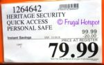 Costco Sale Price: Heritage Security Quick Access Personal Safe