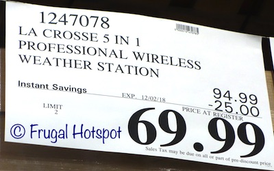 Costco Sale Price: La Crosse Technology Wi-Fi Professional Weather Station