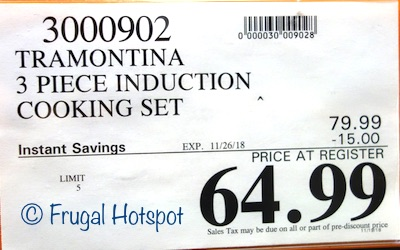 Costco Sale Price: Tramontina 3-Piece Induction Cooking System