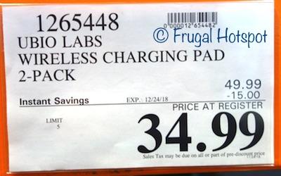 Costco Sale Price: Ubiolabs Wireless Charging Pad for Cell Phones