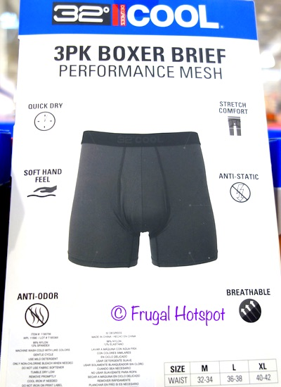 32 Degrees Men's Performance Mesh Boxer Brief 3-Pack at Costco