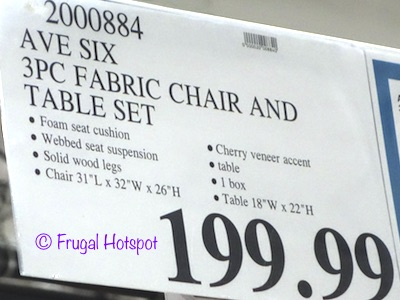 Costco Price: Avenue Six 3-Piece Fabric Chair & Accent Table Set