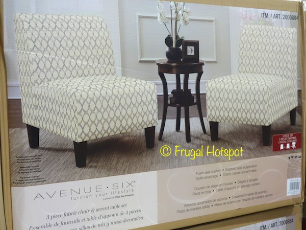 Avenue Six 3-Piece Fabric Chair & Accent Table Set at Costco