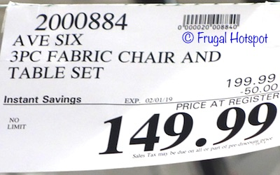 Costco Sale Price: Avenue Six 3-Piece Fabric Chair and Accent Table Set