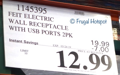 Costco Sale Price: Feit Electric Wall Outlets with USB Ports 2-Pack
