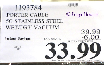 Costco Sale Price: Porter Cable Stainless Steel Wet / Dry Vacuum