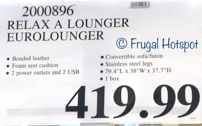 Costco Price: Relax A Lounger Jeneva Bonded Leather Euro Lounger