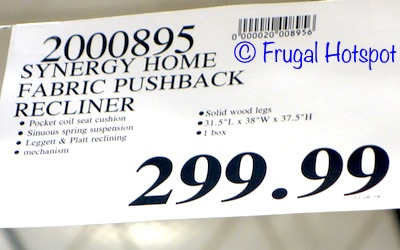 Costco Price: Synergy Home Furnishings Fabric Pushback Recliner