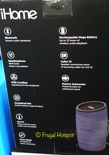 Description of iHome iBT77 Knit Bluetooth Speaker at Costco