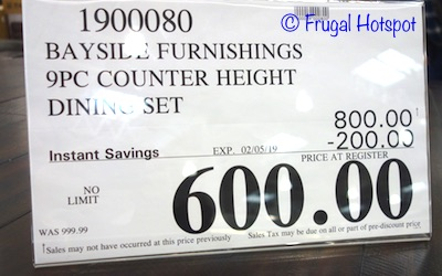 Costco Sale Price: Bayside Furnishings Ulysses 9-Piece Counter Height Dining Set