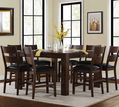 Bayside Furnishings Ulysses 9-Piece Counter Height Dining Set at Costco