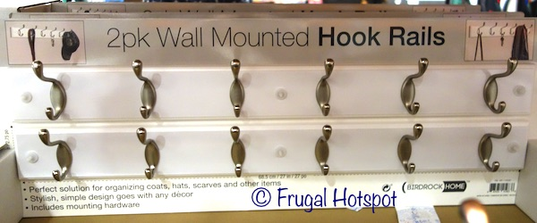 Birdrock Home 2-Pack Wall Mounted Hook Rail in White at Costco