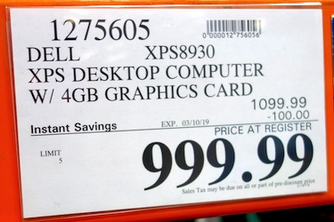 Costco Sale Price: Dell XPS Desktop Computer w/4GB Graphics Card