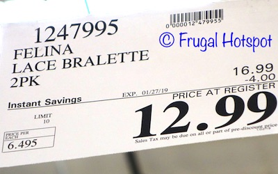 Costco Sale Price: Felina Lingerie Lace Bralette 2-Pack