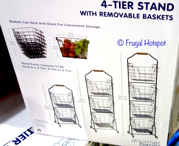 Gourmet Basics Ferme 4-Tier Stand with Removable Market Baskets Dimensions at Costco