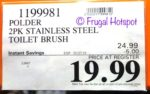 Costco Sale Price: Polder 2-Pack Stainless Steel Toilet Brush